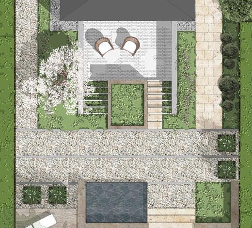 Planungszeichnung mit Gartenansicht von oben